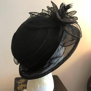 AUGUST HATS Sheer Cloche with Flowers and Feathers